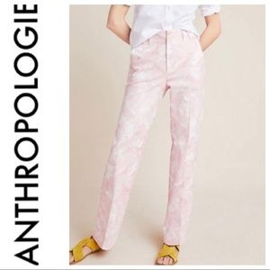 Anthropologie Pink Tie Dye Jamie Trousers Size 10
